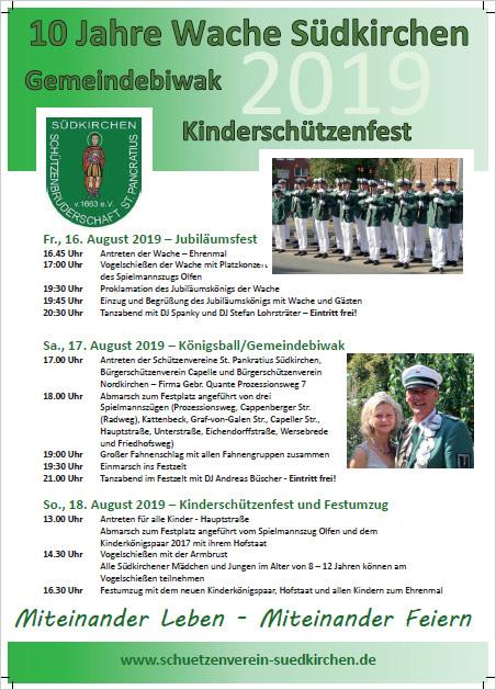 Schützenverein Schützenbruderschaft St. Pankratius Südkirchen - Gemeindebiwak 2019